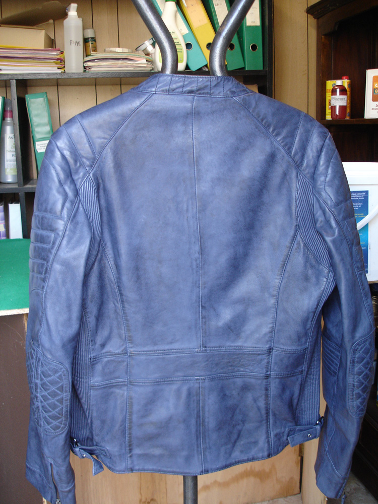 blouson cuir bleu face arrière